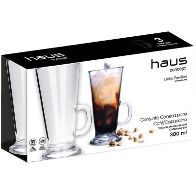 Conjunto 3 Pcs Caneca para Café/Capuccino 300ml Haus Brinox