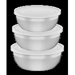 Jogo de Potes Freezinox em Aço Inox com Tampa Plástica 3pc Tramontina