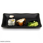 Prato Sushi C/Porta Shoyu 19x11cm Melamina Gourmet Mix
